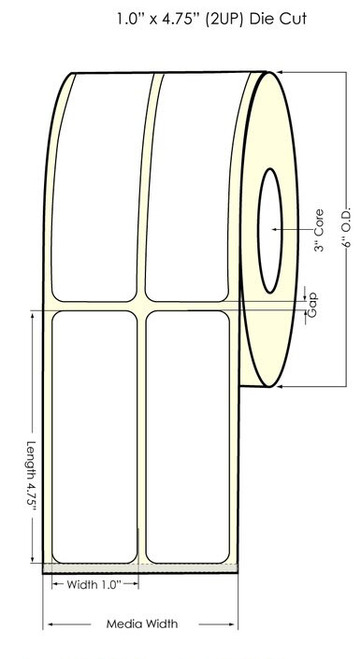 """Inkjet 1""""x4.75"""" NP (2UP) Glossy Polypropylene Label 1050/Roll 6"""" OD"""