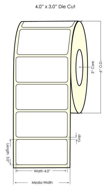 "LX900 4"" x 3"" NP Matte BOPP Labels 800/Roll"