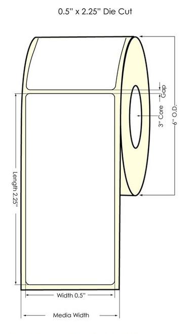 "LX900 0.5"" x 2.25"" Matte BOPP Labels 1000/Roll"