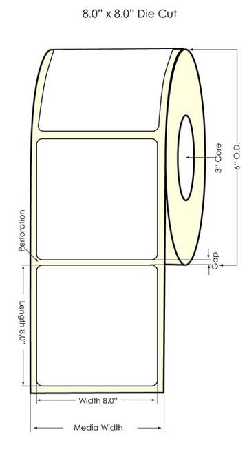 "LX900 8"" x 8"" NP Matte BOPP Labels 250/Roll"