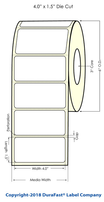 "LX900 4"" x 1.5"" Matte BOPP Labels 1225/Roll"