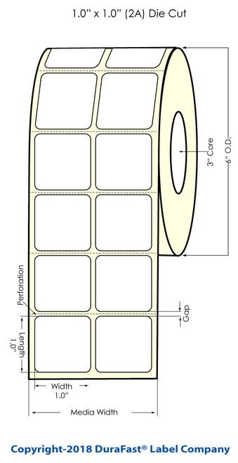 "LX900 1"" x 1"" (2A) Matte BOPP Labels 3550/Roll"