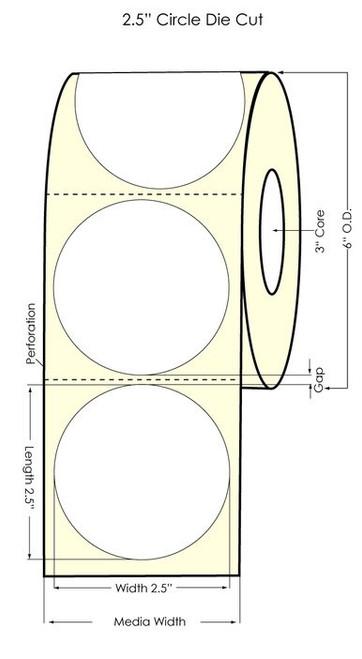 "LX900 2.5"" Circle Glossy BOPP Labels 1000/Roll"