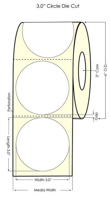 "LX900 3"" Circle Glossy BOPP Labels 750/Roll"