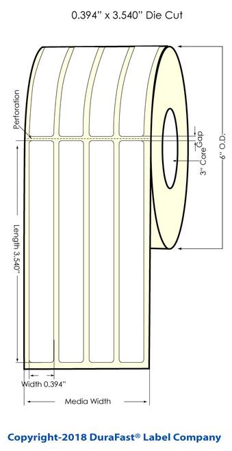 "LX900 0.394"" x 3.540"" (4A) Glossy BOPP (Jewelery) Labels 2400/Roll"