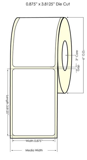 """LX900 0.875"""" x 2.625"""" NP Glossy BOPP (Es Oil) Labels 1000/Roll"""