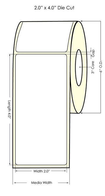 "LX900 2"" x 4"" NP (Matrix ON) Glossy BOPP Labels 620/Roll"
