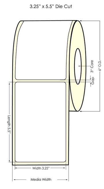 "TM-C7500G 3.25"" x 5.5"" NP Glossy BOPP Labels 450/Roll"