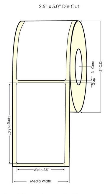 "TM-C7500G 2.5"" x 5"" NP Glossy BOPP Labels 500/Roll"