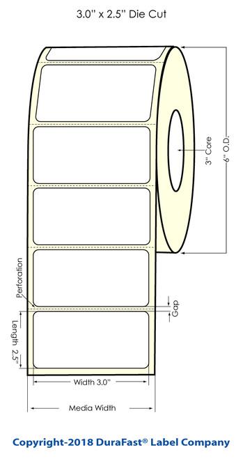 """LX900 3"""" x 2.5"""" Glossy BOPP Labels 900/Roll"""