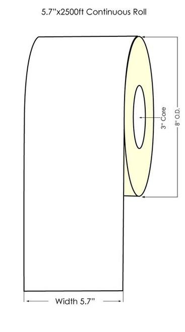 Qspac 814M 5.7x2500 ft Matte Polypropylene TT Printable Overlaminate Roll (99624)