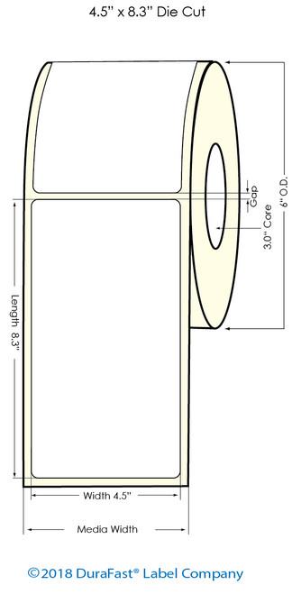 "L701 4.5"" x 8.3"" NP Inkjet Glossy BOPP Labels 300/Roll"