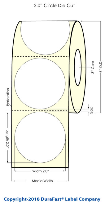 "TM-C3500 2"" Circle (1A) Matte Bopp Label 500/Roll"
