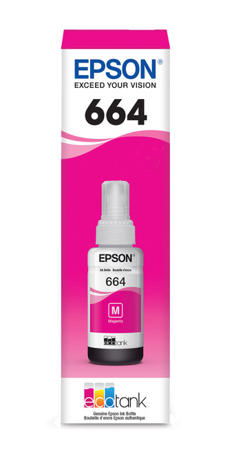 Epson WorkForce ET-16500 T664 Dye Magenta 70mL Ink Bottle - Sensormatic