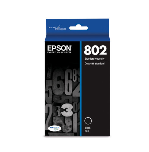 Epson T802 Black Ink Cartridge | 802 DURABrite Ultra Ink (T802120-S)