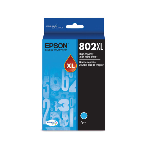 Epson T802XL Cyan Ink Cartridge 1,900 Page Yield (T802XL220-S)