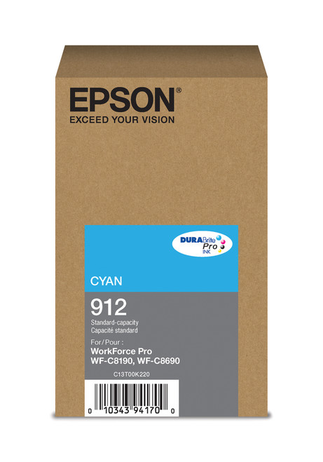 Epson T912 Cyan Ink 1,700 Page Yield (T912220)