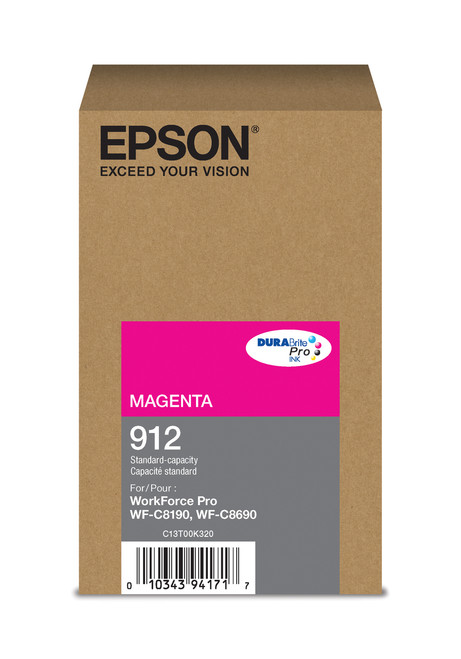 Epson WorkForce Pro T912  Standard Capacity Magenta Ink for WF-C8190/C8690