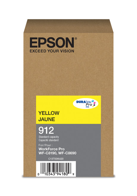 Epson WorkForce Pro T912 Standard Capacity Yellow Ink for WF-C8190/C8690 (T912420)