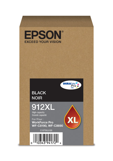 Epson WorkForce Pro T912  High Capacity Black Ink for WF-C8190/C8690