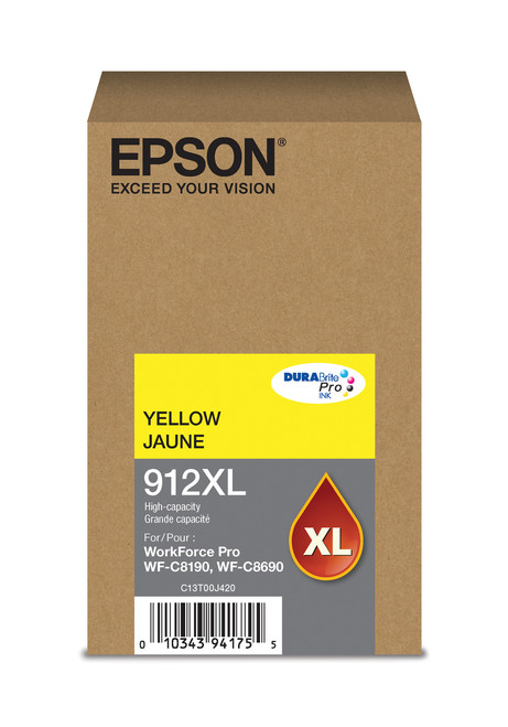 Epson WorkForce Pro T912  High Capacity Yellow Ink for WF-C8190/C8690