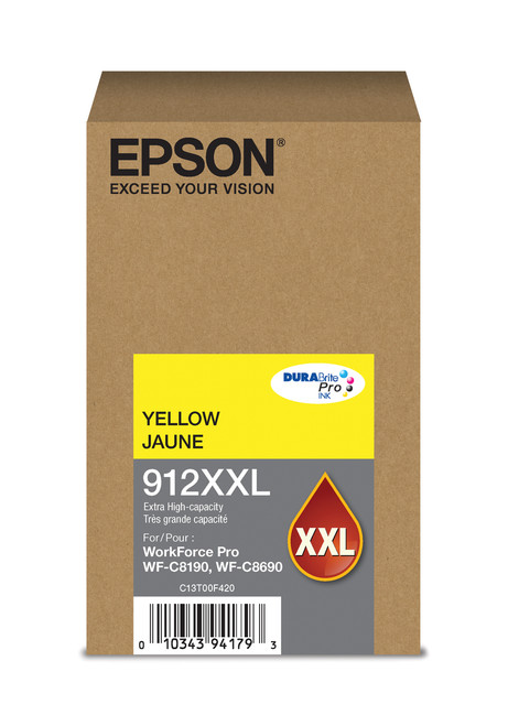 Epson WorkForce Pro T912  Extra High Capacity Yellow Ink for WF-C8190/C8690