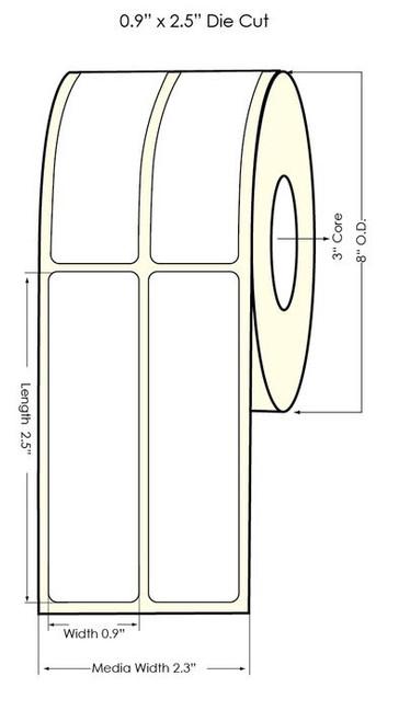 "TM-C7500G 0.90"" x 2.5"" (2UP) NP Glossy BOPP Label 4,000/Roll 8"" OD"