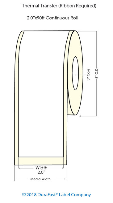 """Thermal Transfer White 2"""" x 1.5"""" (1UP) 3500 Labels/Roll Sold by DuraFast Label Company"""