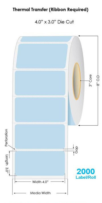 """290 Blue Thermal Transfer 4"""" x 3"""" Floodcoated Labels 2000/Roll - 3"""" Core 