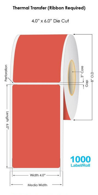 """RED Thermal Transfer 4"""" x 6"""" Floodcoated Labels 1000/Roll - 3"""" Core   8"""" OD (40536)"""