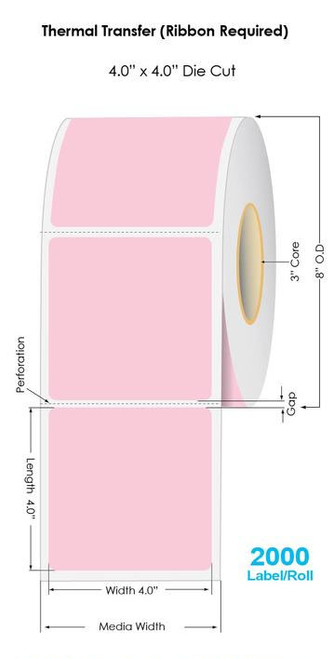 "PINK Thermal Transfer 4"" x 4"" Fluorescent Floodcoated Labels 2000/Roll - 3"" Core 