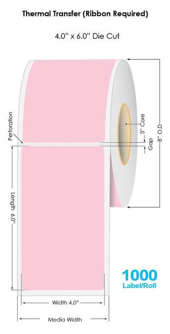 "PINK Thermal Transfer 4"" x 6"" Fluorescent Floodcoated Labels 1000/Roll - 3"" Core 