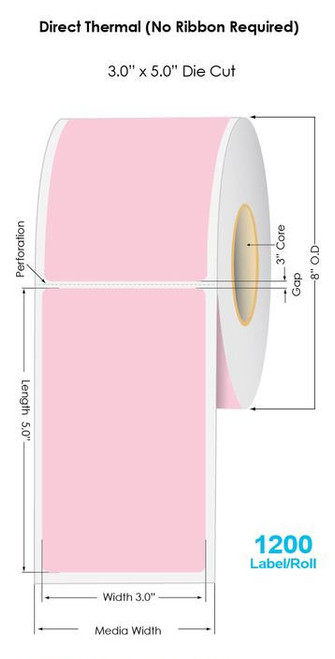 """Pink Direct Thermal 3"""" x 5"""" Floodcoated Labels 1200/Roll - 3"""" Core 