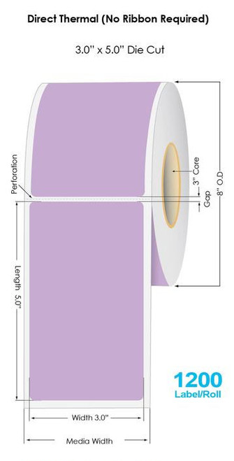 """Purple Direct Thermal 3"""" x 5"""" Floodcoated Labels 1200/Roll - 3"""" Core 