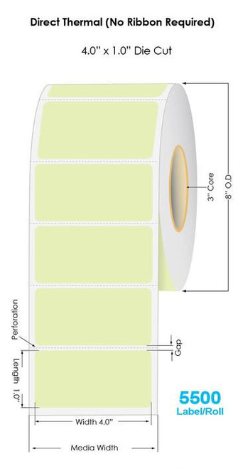 """Green Direct Thermal 4"""" x 1"""" Floodcoated Labels 5500/Roll - 3"""" Core 