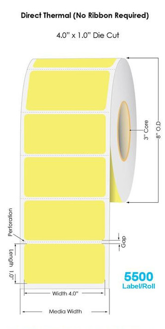 "Yellow Direct Thermal 4"" x 1"" Floodcoated Labels 5500/Roll - 3"" Core 