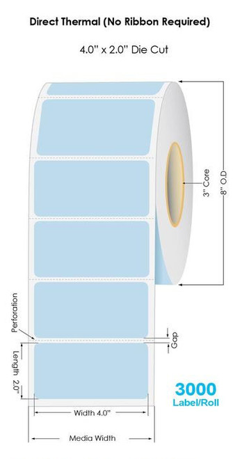 """Blue Direct Thermal 4"""" x 2"""" Floodcoated Labels 3000/Roll - 3"""" Core 