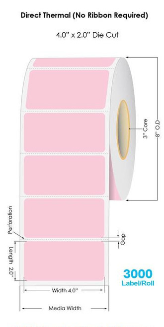 """Pink Direct Thermal 4"""" x 2"""" Floodcoated Labels 3000/Roll - 3"""" Core 