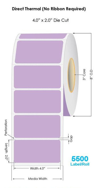 """Purple Direct Thermal 4"""" x 2"""" Floodcoated Labels 3000/Roll - 3"""" Core   8"""" OD"""