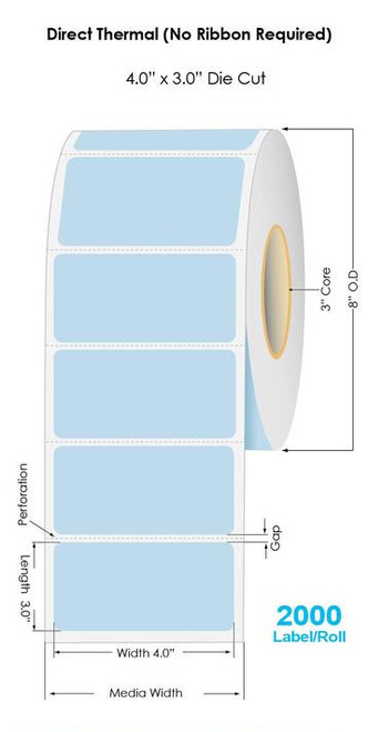 """Blue Direct Thermal 4"""" x 3"""" Floodcoated Labels 2000/Roll - 3"""" Core   8"""" OD"""