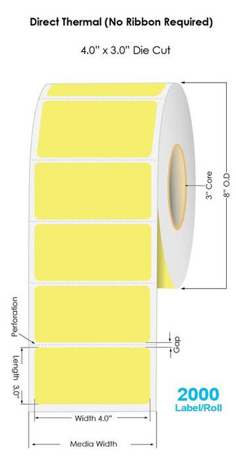 """Yellow Direct Thermal 4"""" x 3"""" Floodcoated Labels 2000/Roll - 3"""" Core 
