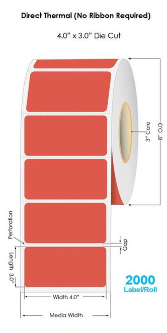 """Red Direct Thermal 4"""" x 3"""" Floodcoated Labels 2000/Roll - 3"""" Core 