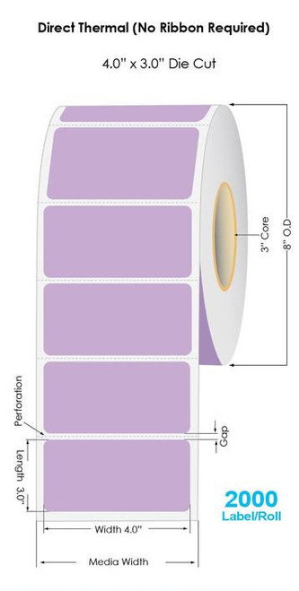 """Purple Direct Thermal 4"""" x 3"""" Floodcoated Labels 2000/Roll - 3"""" Core 