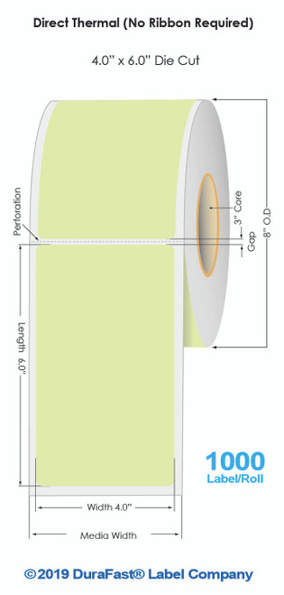"""Green Direct Thermal 4"""" x 6"""" Floodcoated Labels 1000/Roll - 3"""" Core 