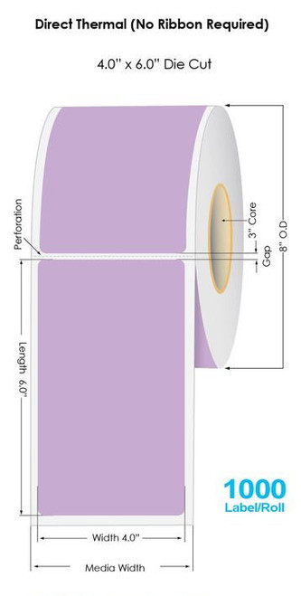 """Purple Direct Thermal 4"""" x 6"""" Floodcoated Labels 1000/Roll - 3"""" Core 