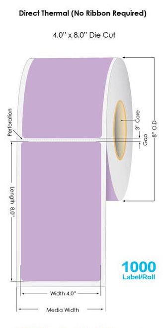 "Purple Direct Thermal 4"" x 8"" Floodcoated Labels 750/Roll - 3"" Core 