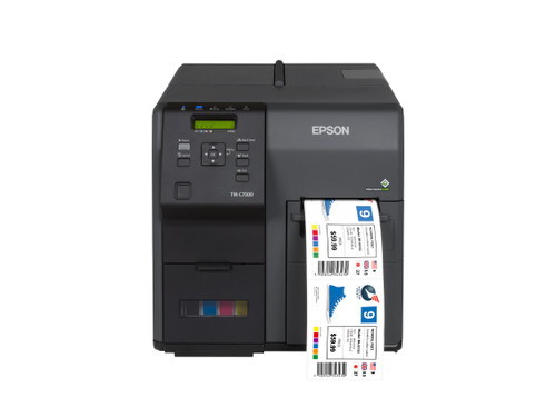"Epson ColorWorks C7500 GHS label printer. The Epson TM-C7500 label printer has an integrated label unwinder that can hold label rolls up to 8 inches OD. An optional external unwinder is also available which can hold larger rolls from 8"" to 12"" OD"