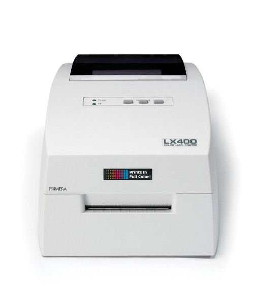 "Primera LX400 color label printer is small and can print color labels up to 4"" wide"