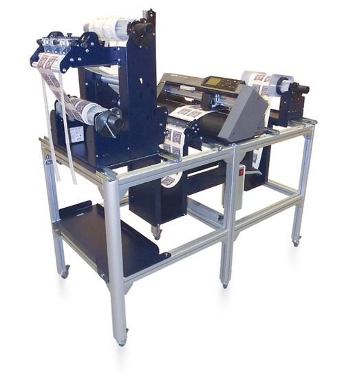 Scorpio Digital Label Finishing System includes an unwinder station, rewinder station, digital die-cutting, waste matrix removal, slitting, all into a single unit.