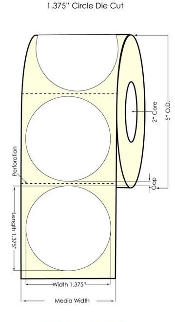 "Primera LX400 1.375"" Circle High Gloss Labels 1200/Roll"